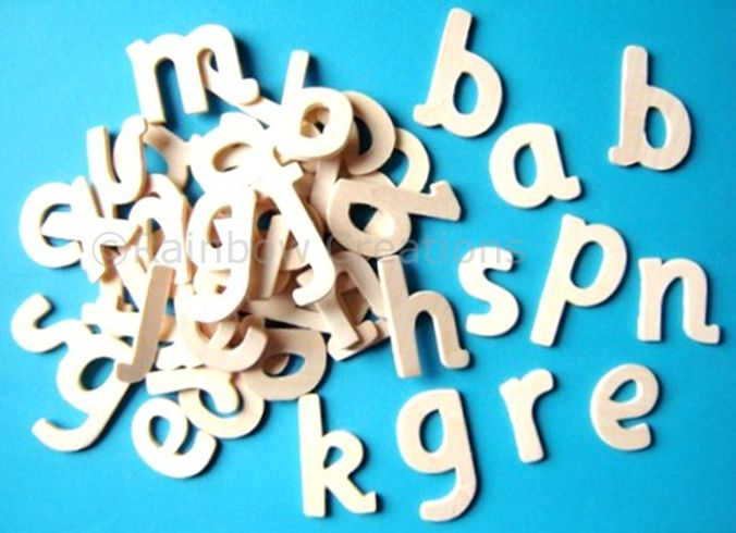 Plain Wooden Letters - 60 Small Wooden Letters