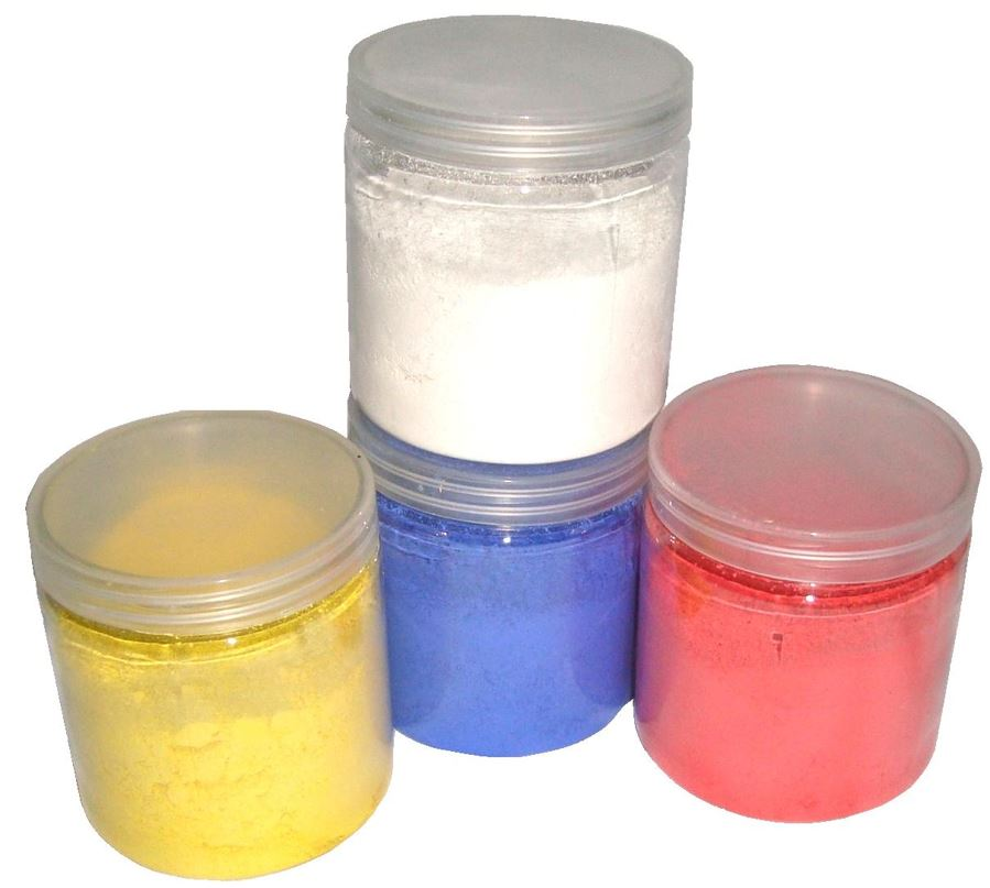 Small Pots Of Powder Paint