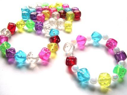 Coloured dice beads children 39 s beads plastic beads for Bead craft ideas for kids