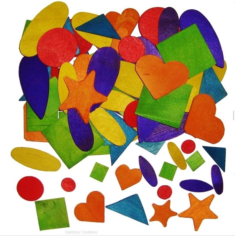 Coloured wooden shapes children 39 s craft supplies wood for Craft supplies wooden shapes