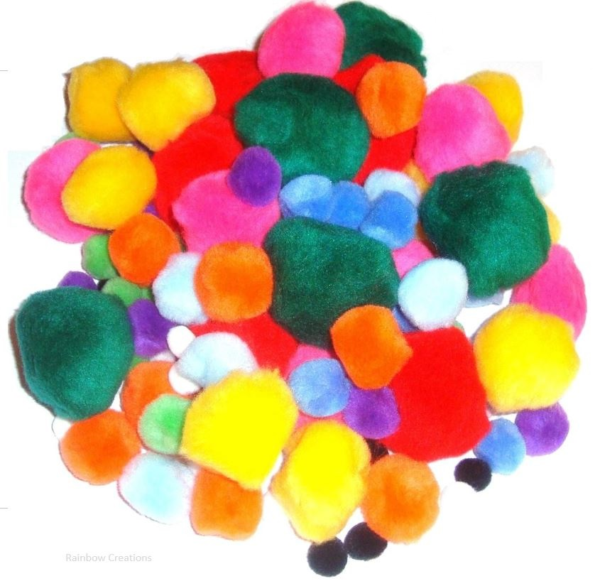 Assorted Size And Colour Pom Poms