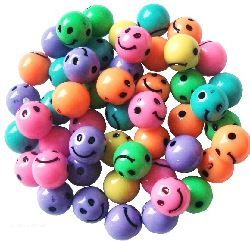 Smiley Face Plastic Beads