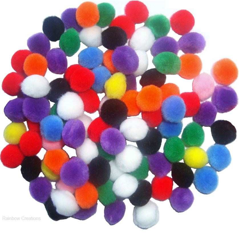 Single Size Mixed Colour Pom-Poms