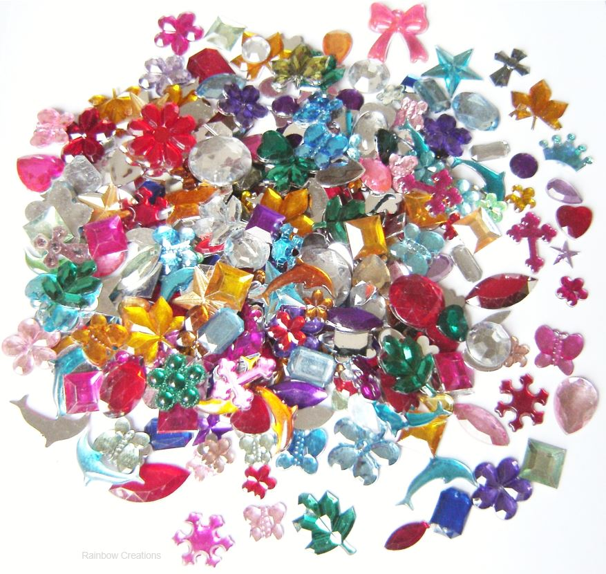 Mixed acrylic rhinestone gems bulk bag bulk educational for Plastic gems for crafts