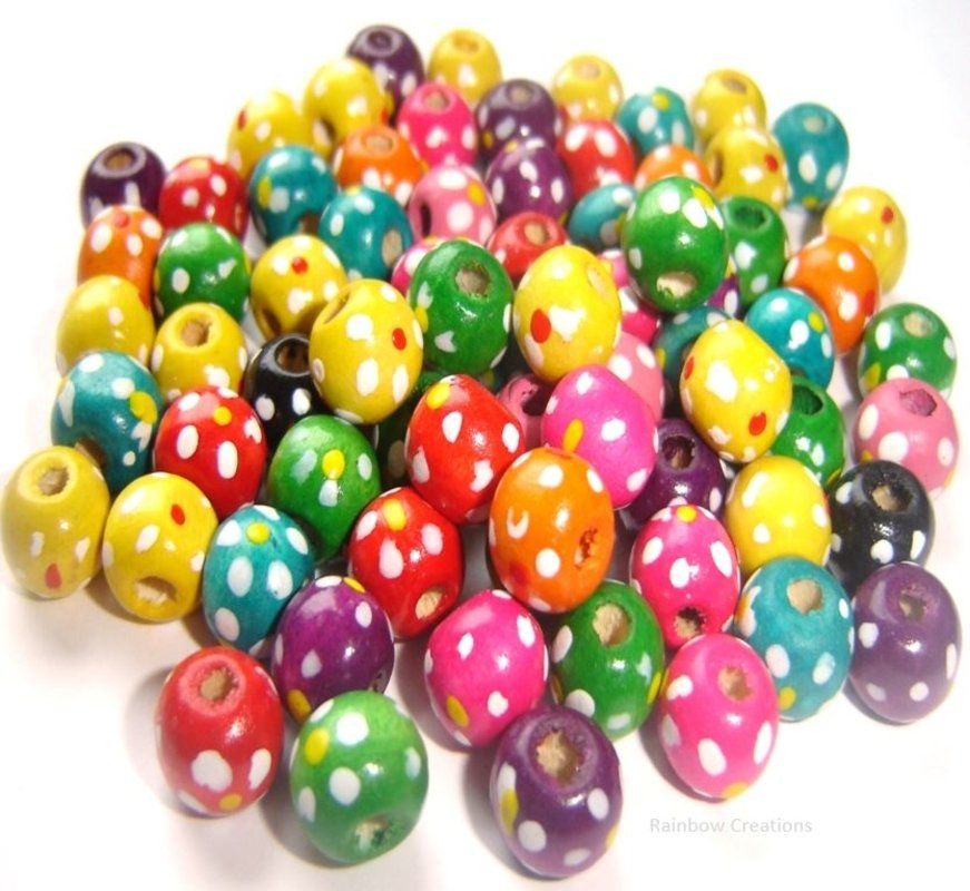 Painted Wooden Beads