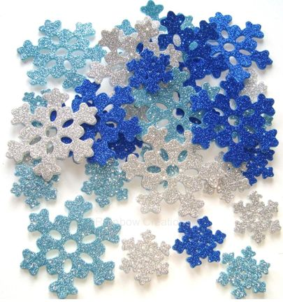 Small Foam Snowflakes Craft Foam Glitter Snowflakes