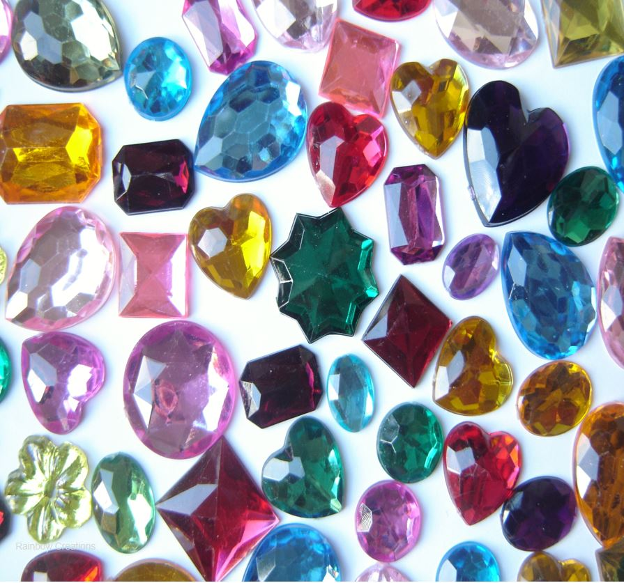 Large flat backed acrylic gems children 39 s craft supplies for Plastic gems for crafts