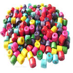 Small Wooden Rainbow Tube Beads