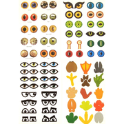 Paper Eyes and Feet Shaped Stickers