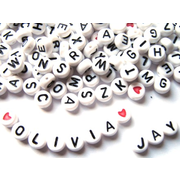 Black and White Letter Beads