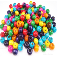 Multicoloured Small Round Wooden Beads