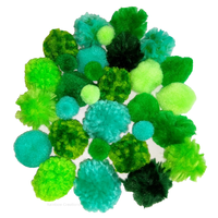 Green Textured Woolly Pom Poms