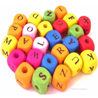 Coloured Wooden Letter Beads