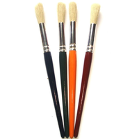Paint Brushes With Coloured Wooden Handles Set