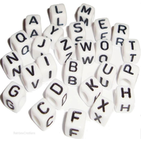 Single Letter Alphabet Beads White Cube