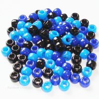 Black and Blue Mixed Pony Beads