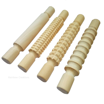 Small Wooden Rolling Pin Set -Textured And Plain