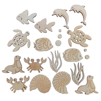 Mini  Wooden Embellishments - Sea Creatures