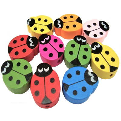 Wooden Ladybird Beads