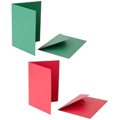 Blank Red and Green Cards With Envelopes