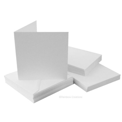 Plain White Square Cards With Envelopes Bulk Pack