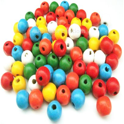 Mixed Colour Round Wooden Beads