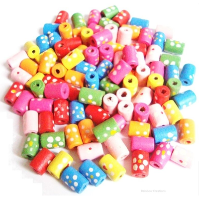 Dotty Wooden Tube Beads